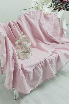 Julia Tischdecke rosa Leinenoptik Volant 170x270cm