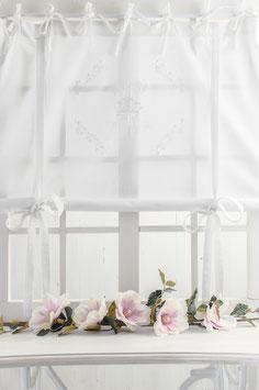 Rose Queen White *** weiss bestickt *** Raffgardine 120x120cm