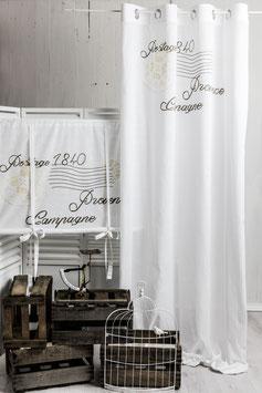 Poststempel weiss Vorhangset sand beige bedruckt 2x(145x250cm)