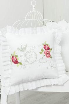 Rose Garden farbig bedruckt Kissenbezug 45x45cm+5cm Rüsche