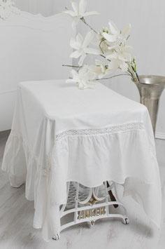 Julia Tischdecke offwhite Leinenoptik Volant 170x170cm