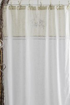 Flora Vorhangset light grey/white/white bestickt Leinenoptik 2x120x240cm