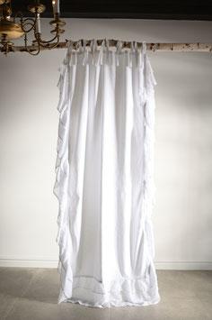 *MINI FRILLS LOVE * 90x230cm Gardine Vorhang  frill lace Landhaus Shabby Vintage White curtain Volant Spitze weiss