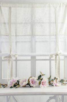 Flora Raffgardine light grey/white/white bestickt Leinenoptik 140x120cm