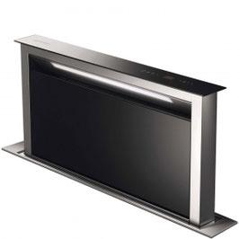 Smeg · KDD90VXE-2 Neuheit · Downdraft-Muldenlüfter · 90cm · Schwarzglas · Neutrales Design