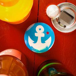 Anker - weiß auf blau // Flaschenöffner