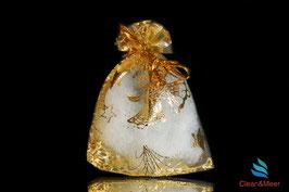 Organzabeutel gold Weihnachtsglöckchen