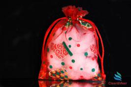 Organza-Beutelchen Weihnachten rot/grün Stiefelchen