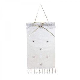 Organza-Beutel groß mit Perlenblüten bestickt