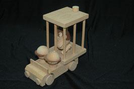 Holz-Zoowagen mit Männchen und Affe
