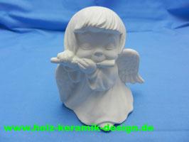 Schrühware -Engel mit Querflöte