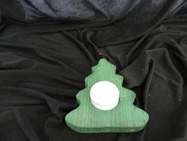 Holztannenbaum mit Teelicht grün