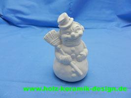 Schrühware Schneemann mit Besen