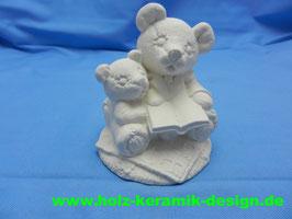 Schrühware Bär mit Bärenkind und Buch
