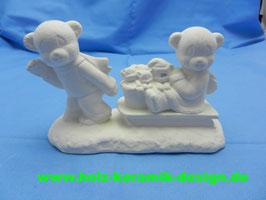 Schrühware Bärenfamilie mit Schlitten