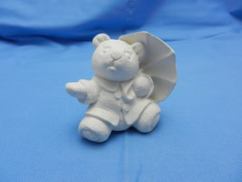 Schrühware Bär mit Regenschirm