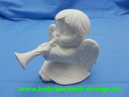 Schrühware -Engel mit Flöte
