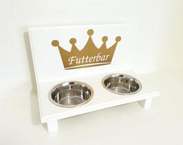 Futterbar / Napfbar mit 2 Näpfen, weiß. goldene Krone mit Wunschbezeichnung/ Name.