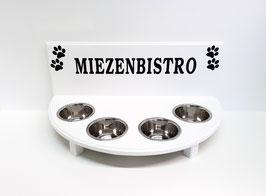 Futterbar / Napfbar mit 4 Näpfen, in weiß, halbrund, mit Rückwand, 350 ml, 4x Pfote + Miezenbistro