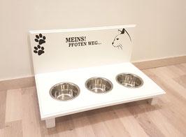 Futterbar / Napfbar mit 3 Näpfen, weiß, 2 Pfoten + Spruch + Katzenkopf