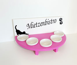 Futterbar / Napfbar mit 5 Keramiknäpfen, halbrund, inkl. Deko und Namenswunsch
