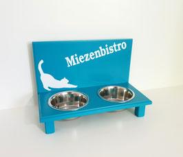 Futterbar / Napfbar mit 2 Näpfen, türkis. getreckte Katze + Miezenbistro