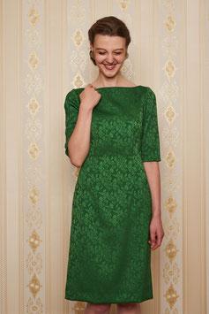 Kleid Arla mit 1/2 Arm, Jacquard Wollmischung, grün
