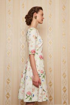 Kleid Natascha mit Blumen und Vögeln, Baumwolle