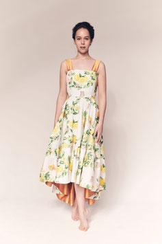 Kleid Susanna, Baumwolle mit Orangenmuster und Seide