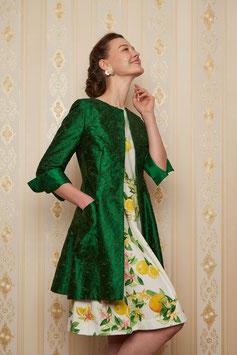 Mantel Eva, grüne bestickte Seide