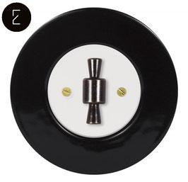 Va et Vient Rétro Porcelaine Noire, enjoliveur blanc, bouton OBZ patiné