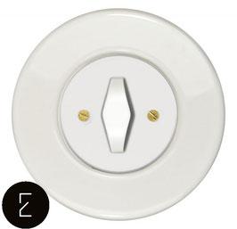 Interrupteur rétro porcelaine blanche, enjoliveur blanc, bouton BTA blanc