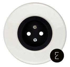 Prise de courant rétro en porcelaine blanche, enjoliveur noir