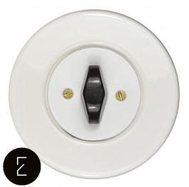 Interrupteur rétro porcelaine blanche, enjoliveur blanc, Bouton BTA noir