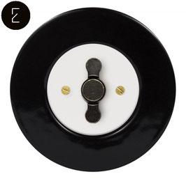 Interrupteur Rétro Porcelaine Noire, enjoliveur blanc, bouton ZLN patiné