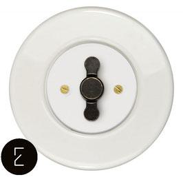 Interrupteur rétro porcelaine blanche, enjoliveur blanc, bouton ZLN patiné