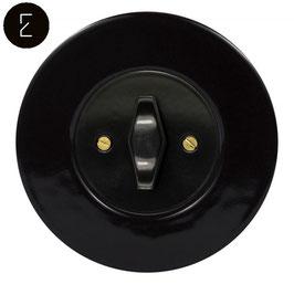 Interrupteur Rétro Porcelaine Noire, enjoliveur noir, bouton BTA noir