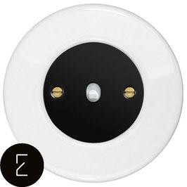 Interrupteur rétro en porcelaine blanche, enjoliveur noir, bouton à levier blanc