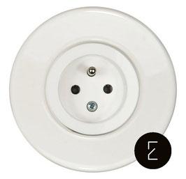 Prise de courant rétro en porcelaine blanche / enjoliveur Blanc