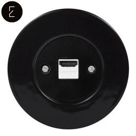 Prise HDMI Rétro en Porcelaine Noire, enjoliveur noir