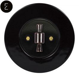 Interrupteur Rétro Porcelaine noire, enjoliveur noir, bouton OBZ patiné
