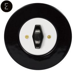 Interrupteur Rétro Porcelaine Noire, enjoliveur blanc, bouton BTA noir