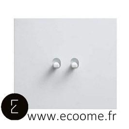 Poussoir + interrupteur à levier en aluminium blanc