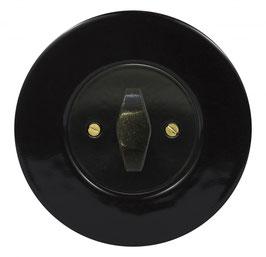 Interrupteur Rétro Porcelaine Noire, enjoliveur noir, bouton BTA patiné