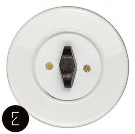Interrupteur rétro porcelaine blanche, enjoliveur blanc, bouton BTA patiné
