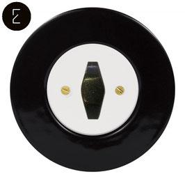 Interrupteur Rétro Porcelaine Noire, enjoliveur blanc, bouton BTA patiné
