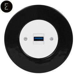 Prise USB Chargeur Rétro en Porcelaine Noire, enjoliveur blanc