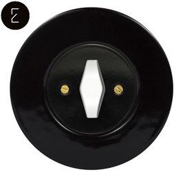 Interrupteur Rétro Porcelaine Noire, enjoliveur noir, bouton BTA blanc