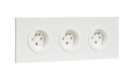 Triple prise de courant en aluminium blanc