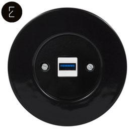 Prise USB Chargeur Rétro en Porcelaine Noire, enjoliveur noir